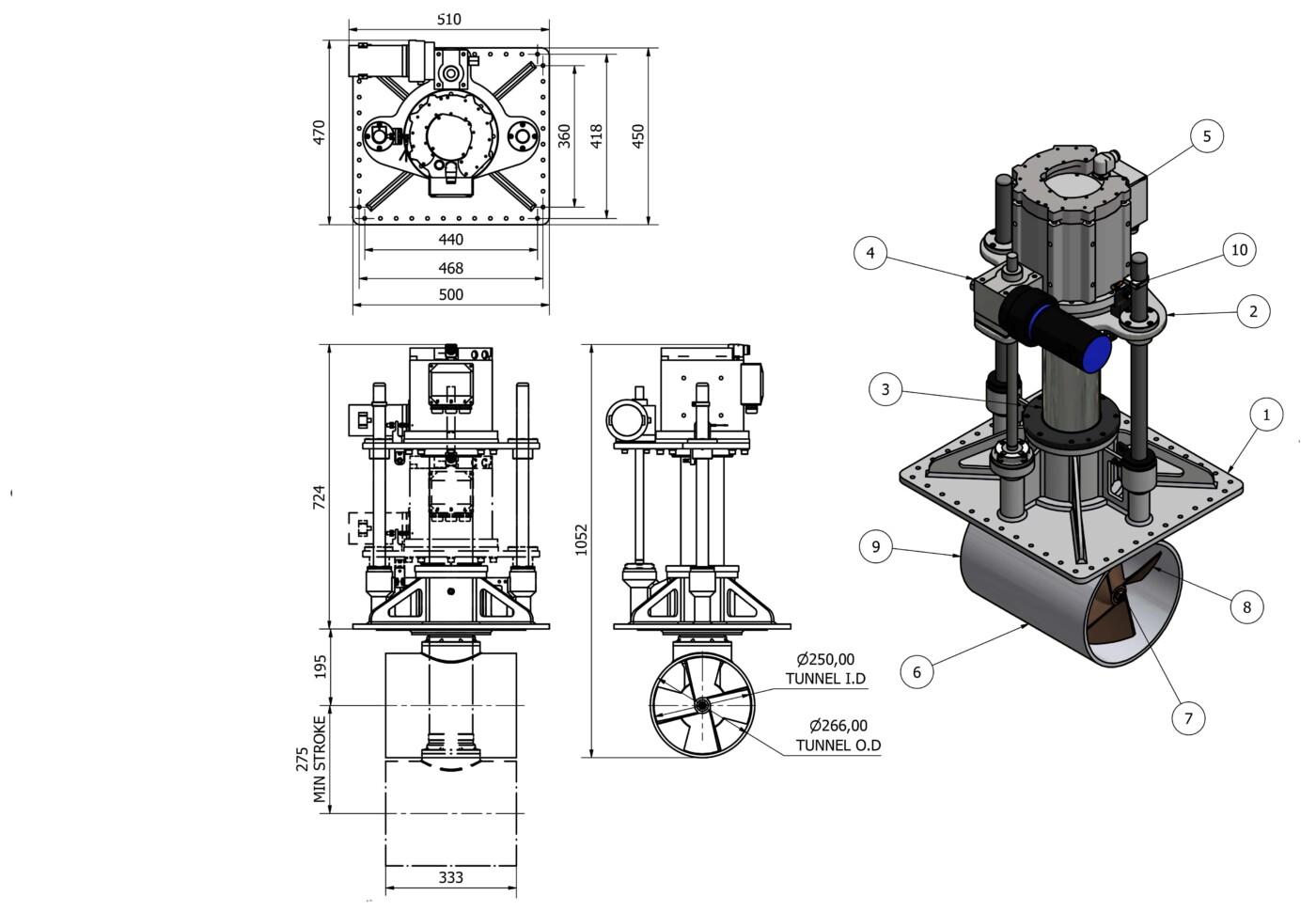 OMS vertical retracting thruster e-0250-v