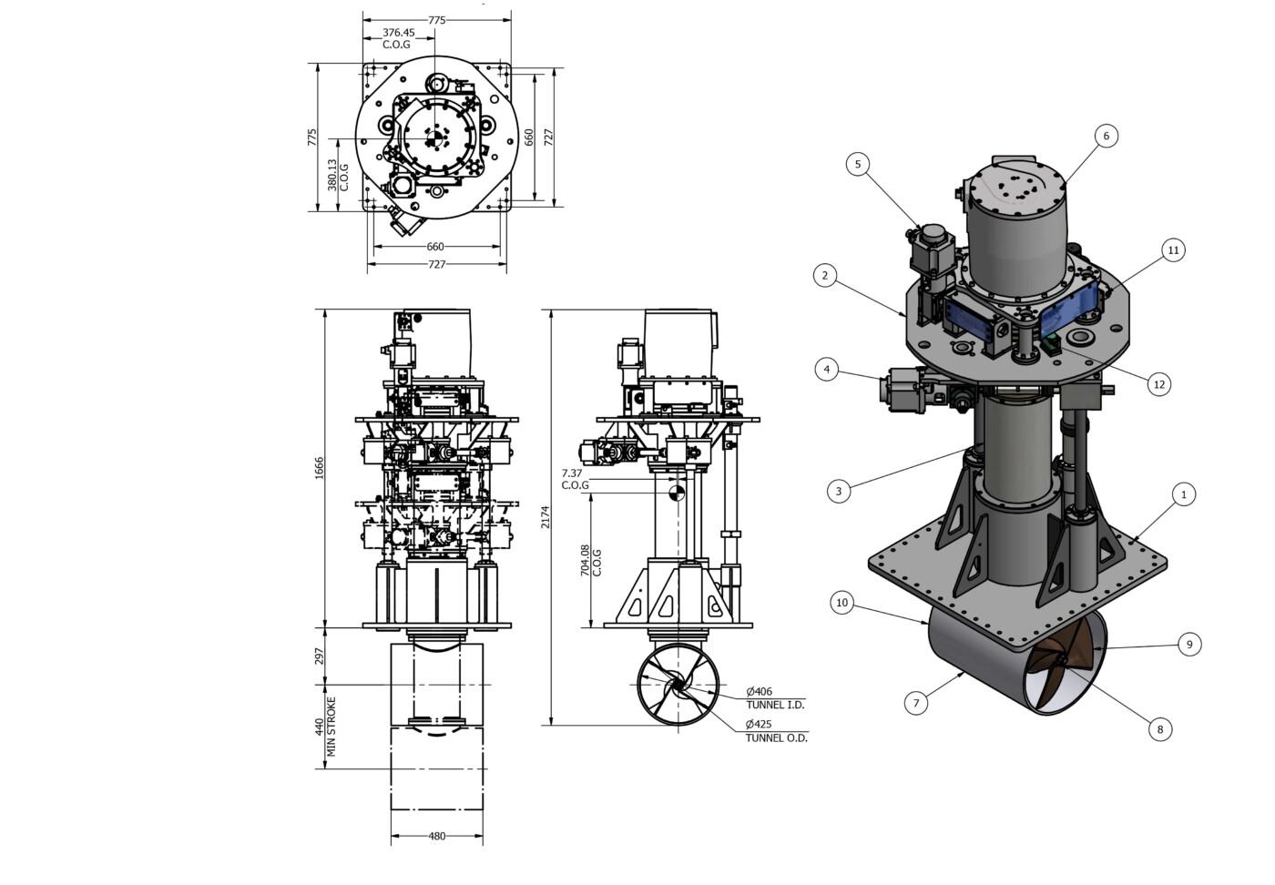 OMS Vertical Rotating Electric Thruster E-0400-V-R