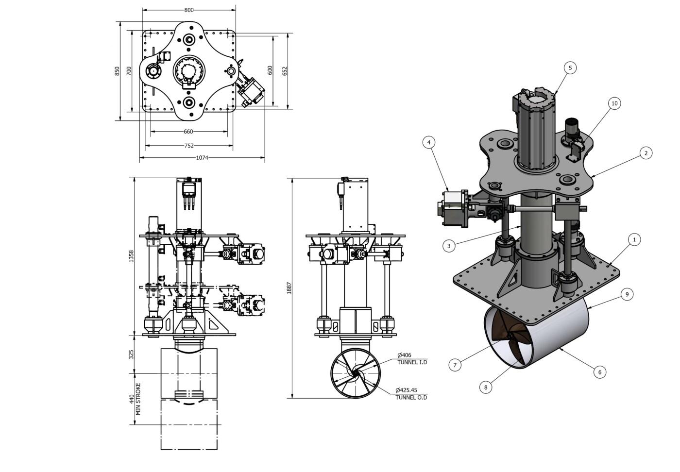 OMS vertical retracting thruster E-0400-V