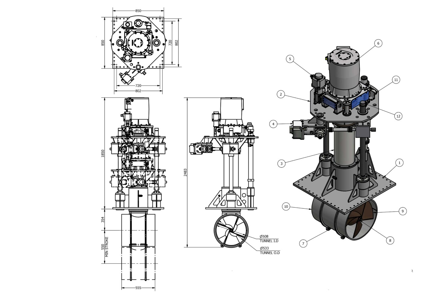 OMS Vertical rotating thruster electric E-0500-V-R