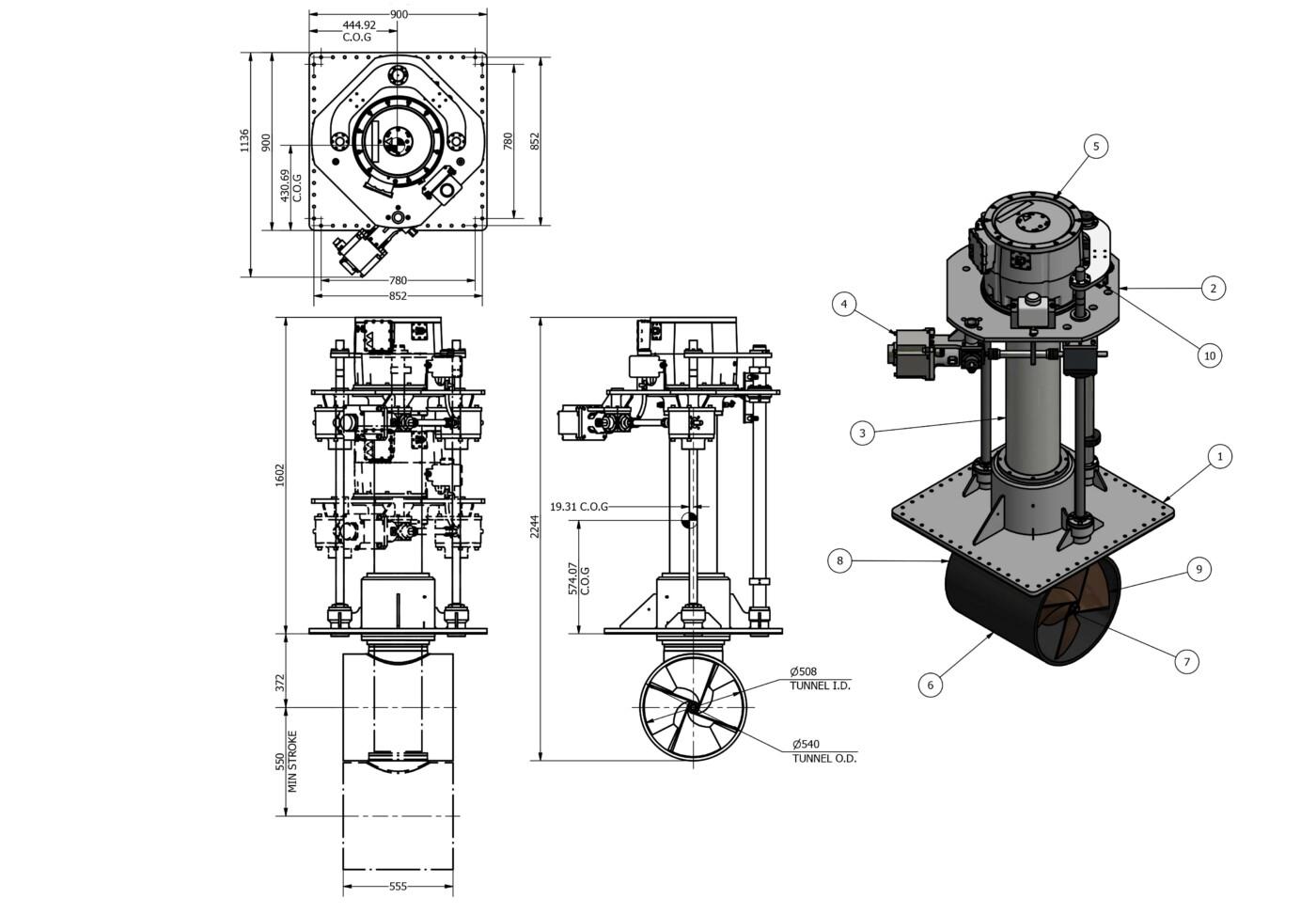 OMS Electrical Vertical Thruster E-0500-V