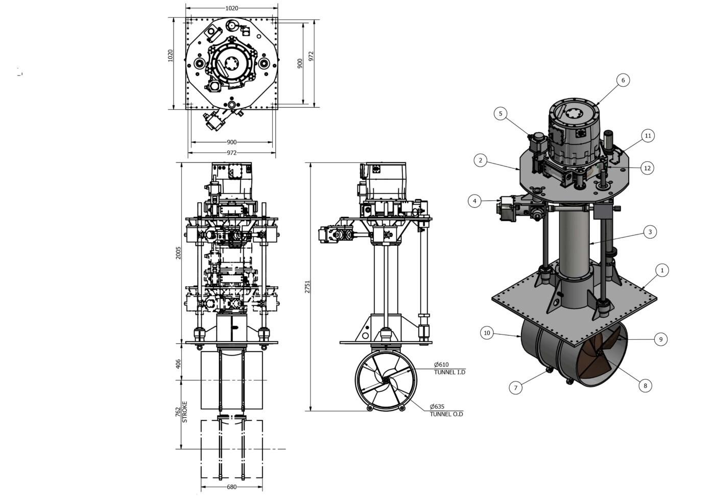 OMS VErtical Rotating Thruster E-0600-V-R