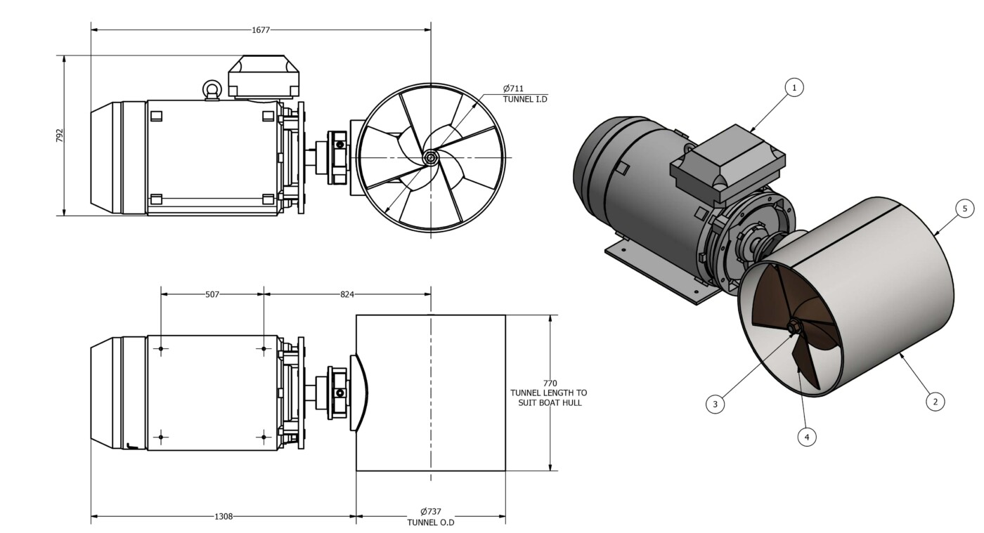 Oms electric tunnel thruster e-0700-t