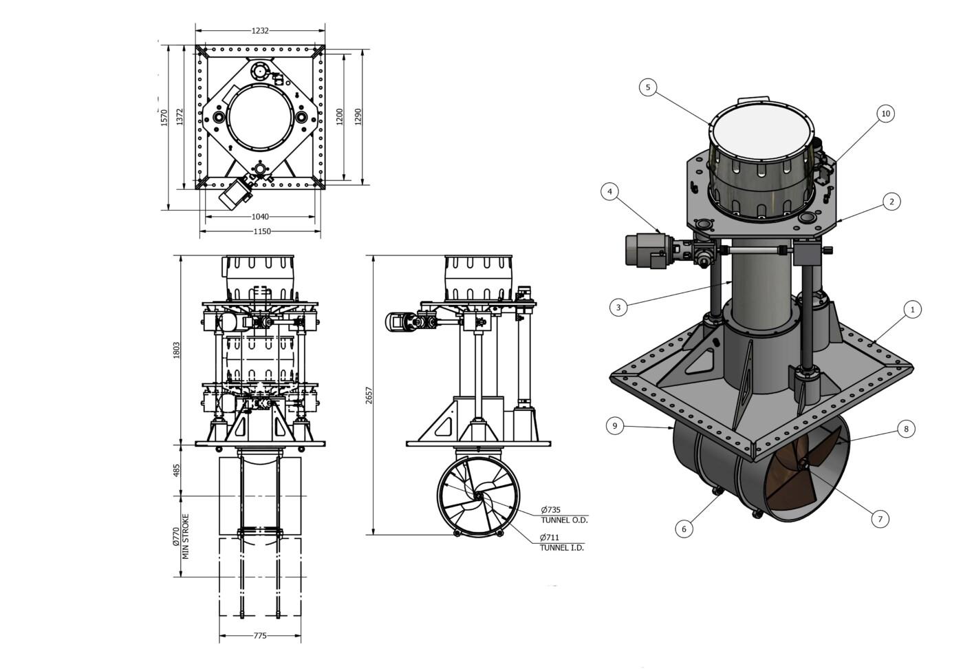 OMS Electrical Vertical Thruster E-0700-V