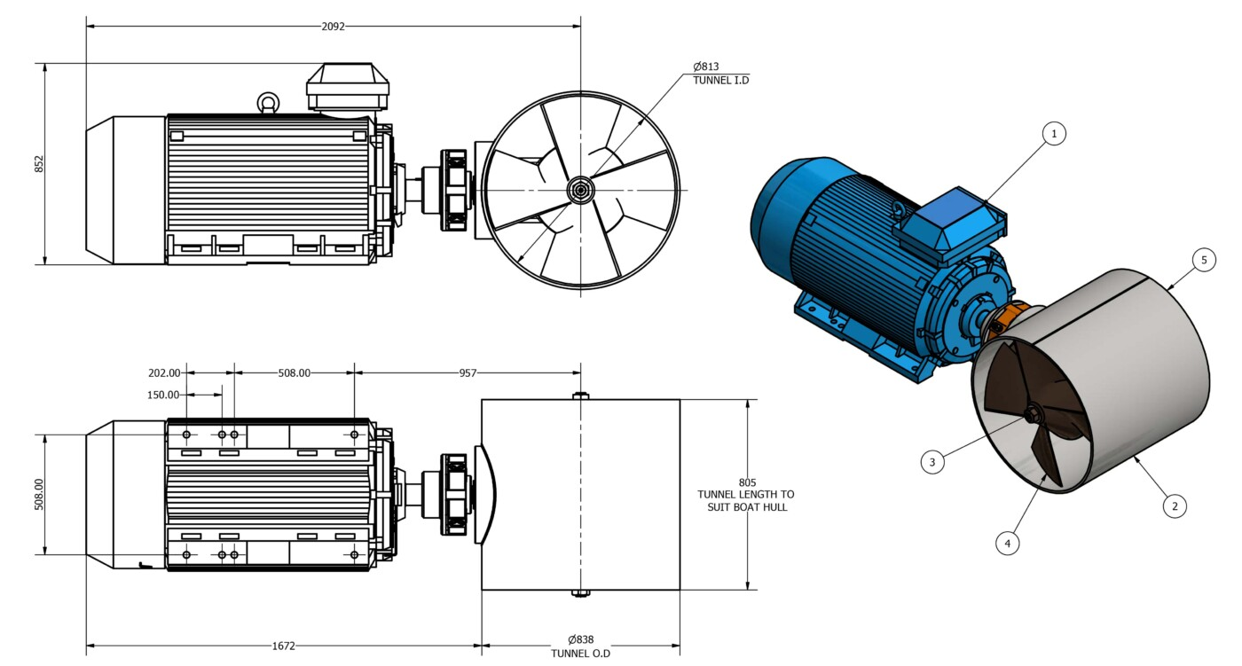 OMS Electric Tunnel Thruster E-0800-T