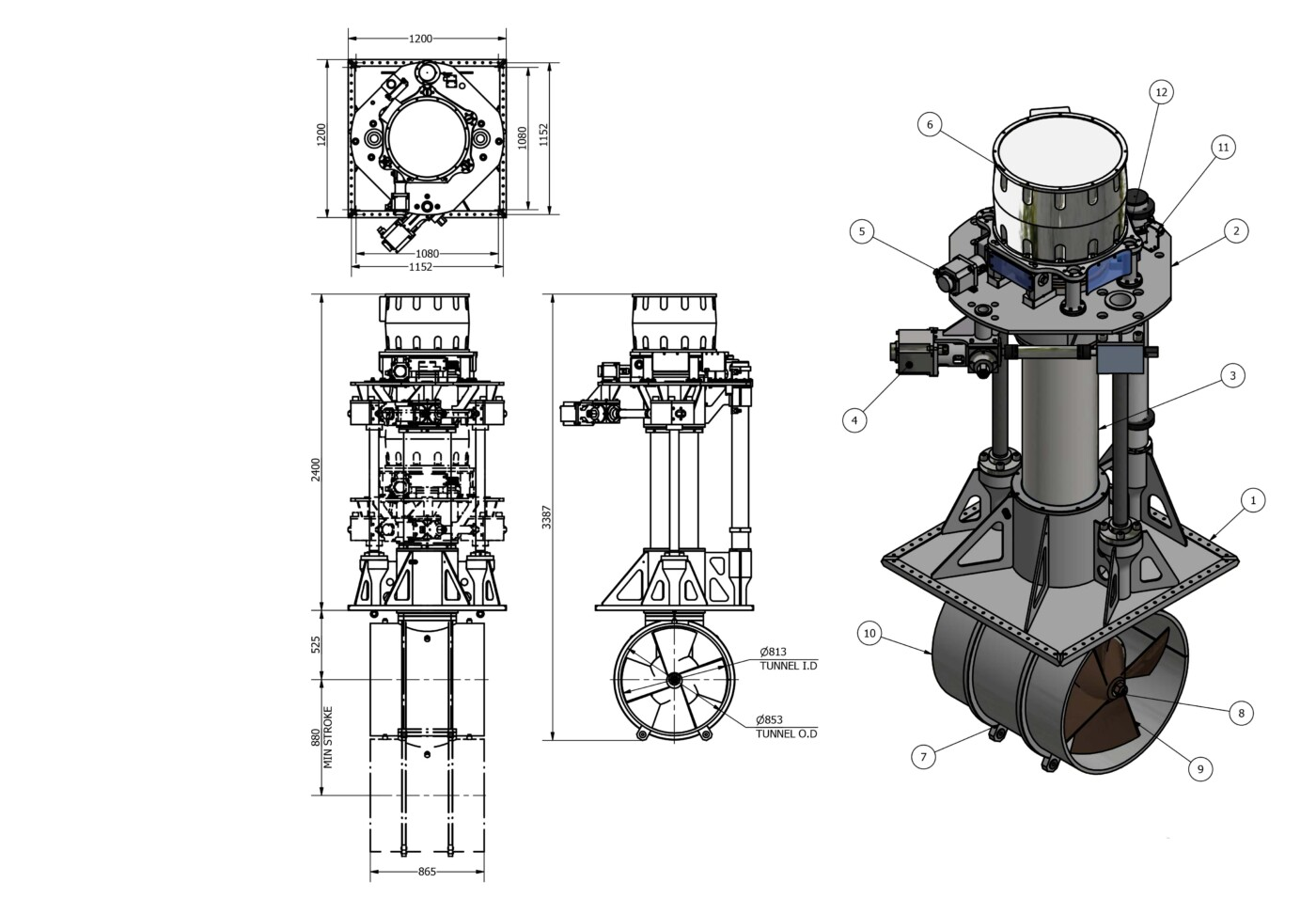 OMS Electric Vertical Rotating Thruster E-0800-V-R
